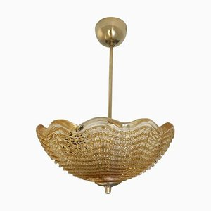 Art Deco Style Amber Glass Bowl Chandelier by Carl Fagerlund for Orrefors, 1960s