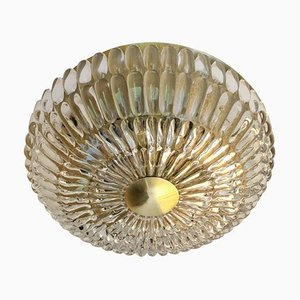 Crystal Petal Flush Mount with Brass Fittings from Orrefors, 1960s