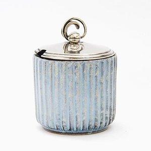 Lidded Jar With Silver Lid from Andersen Keramik Bornholm, 1930s