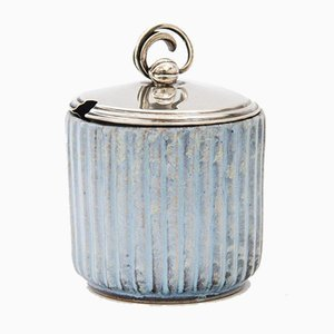 Lidded Jar with Silver Lid by Andersen Keramik Bornholm, 1930s