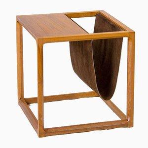 Teak Newspaper Rack and Side Table by Kai Kristiansen
