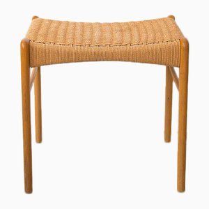 Danish Oak and Paper Cord Stool by Niels Otto (N. O.) Møller