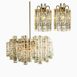 Wall Lights and Chandelier by Doria Leuchten Germany, 1960s, Set of 3