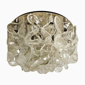 Large Catena Murano Glass and Chrome Flush Mount Chandelier by J.T. Kalmar, 1960s