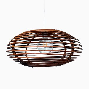 Italian Lonzeng Shaped Rattan Ceiling Lamp, 1960s