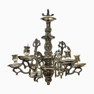 Small Antique Flemish Silver-Plated Bronze Candleholder Chandelier