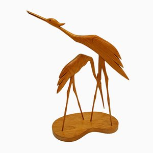 Mid-Century Teak Water Birds Sculpture on Plateau