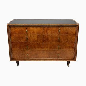 Large Burl Walnut and Brass Dresser by Osvaldo Borsani, 1940s