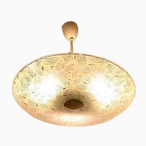 Große runde Deckenlampe aus Glas, 1950er