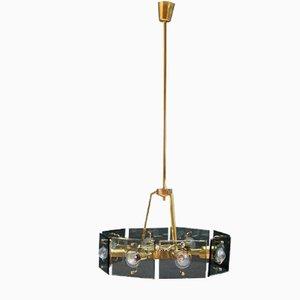 Italienische Deckenlampe aus Messing & Dunkelgrünem Kristallglas von Gino Paroldo, 1950er