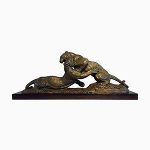 Scultura Art Déco raffigurante una pantera in bronzo di Robert, anni '30