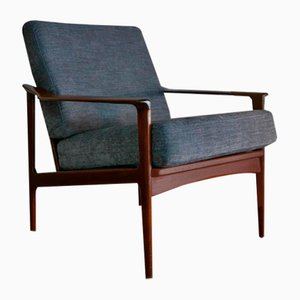 Danish Organic Solid Teak Lounge Chairs Attributed to Arne Vodder, 1960s, Set of 2