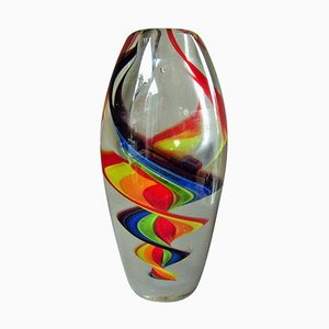 Italian Multi Colored Murano Glass Vase, 1960s