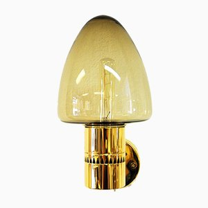 Swedish Glass and Brass Sconces by Hans-Agne Jakobsson for Hans-Agne Jakobsson AB Markaryd, 1950s, Set of 2