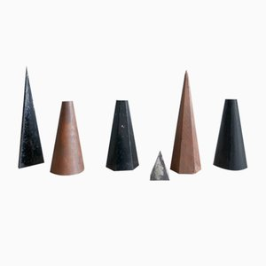 Mid-Century Geometric Form Sculptures, 1970s, Set of 6
