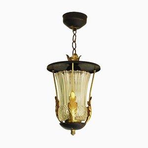 Mid-Century Pendant Lantern Lamp Attributed to Poillerat, 1940s