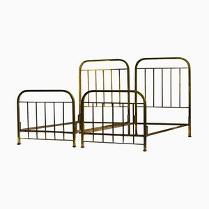 French Art Deco Brass Single Beds, 1930s, Set of 2
