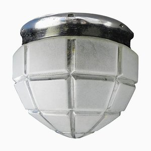 Art Deco Flush Mount Ceiling Light with Large Frosted Glass Globe Shade, 1930s