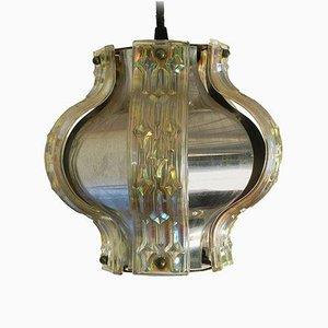 Lampe à Suspension Mid-Century en Chrome et Panneaux de Verre Irisés, 1950s