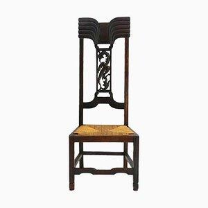 Antiker Aesthetic Arts & Crafts Stuhl mit geschnitztem Phoenix Rush Seat