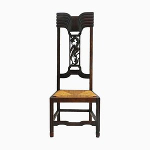 Antique Aesthetic Arts & Crafts Chair with Carved Phoenix Rush Seat