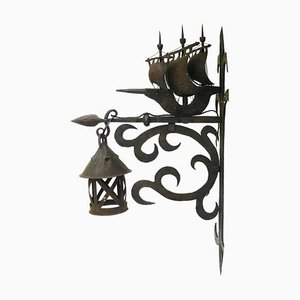 Wrought Iron Sconce Attributed to Poillerat Marine Galleon, 1930s