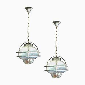 Lampes à Suspension en Verre de Murano et Chrome de Mazzega, 1960s, Set de 2