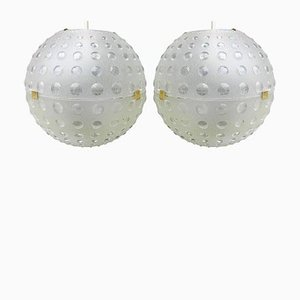 Opaque Molded Plastic Globe Pendant Lights, 1950s, Set of 2