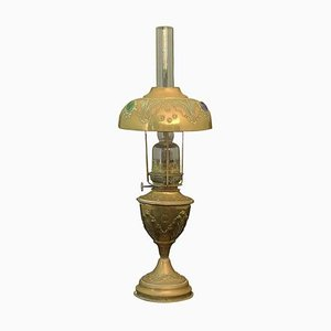 Antique French Bohemian Brass and Glass Cabochons Oil Lamp, 1910