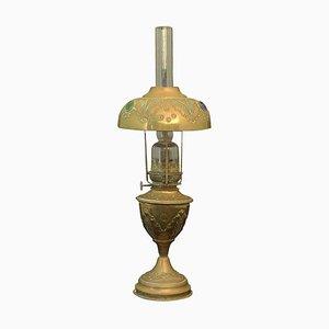 Lampe à Huile Cabochons Antique Bohémienne en Laiton et en Verre, France, 1910