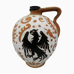 Spanish Art Pottery Terracotta Pitcher with Slipware Eagle Jug from Iberia, 1960s