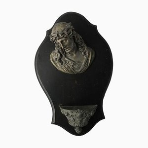 19th Century French Holy Water Font Head of Christ Sculpture