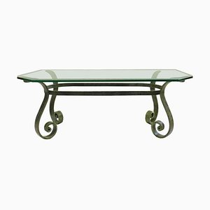 French Hollywood Regency Verdigris Iron and Glass Coffee Table, 1950s