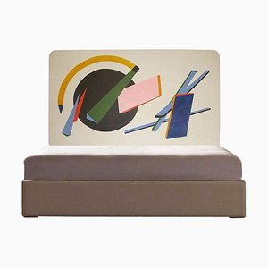 French Bed Headboard Painted by Artist, 1950s