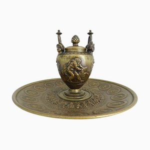 19th Century Empire Bronze Greek Mythology Hercules Lion Inkwell Writing Set