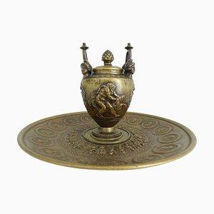 Empire Bronze Griechische Mythologie Hercules Löwen Tintenfass Set