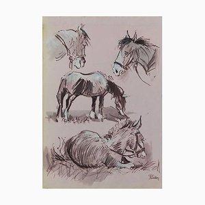 Peinture Study of Horses Aquarelle de Chevaux par Peter Hobbs, 1930s