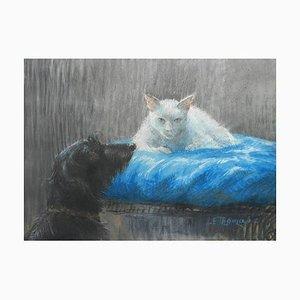 Katze und Hund Kreidezeichnung von E Thomas, 1950er