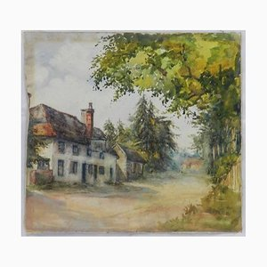 19th Century English Country Lane Watercolor by MEB, 1889