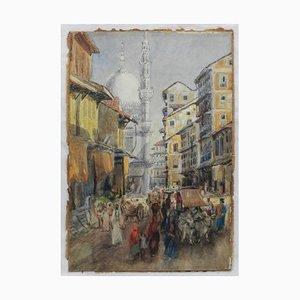 Peinture Scène de Rue Aquarelle par FYS, 1894