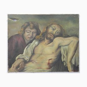 Mid-Century Realist Oil Painting of Jesus and Mary Magdalene, 1950s