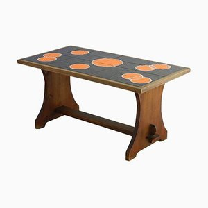 Mid-Century Coffee Table with Refectory Pine and Tiled Top, 1960s