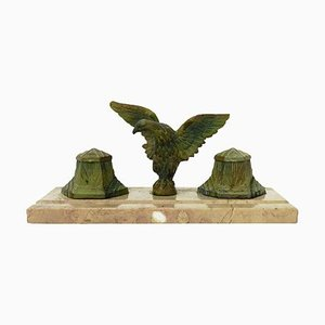 French Art Deco Inkstand Eagle on Marble Desk Inkwell, 1920s