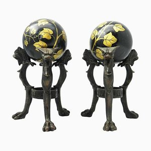Antique Tripod Bronze Stands with Chimera and Marble Balls with Painted Ivy, Set of 2