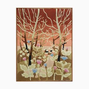 French Needlework Tapestry One of a Kind Wall Hanging, 1940s