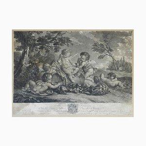 Gravure Décorative en Relief, L'Amour du Vin, France, 18ème Siècle