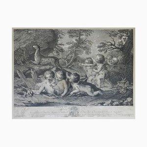 Dekorativer Französischer Vintage Stich L'Amour du Vin, 18. Jahrhundert
