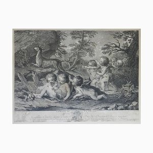 French Distressed Decorative Engraving L'Amour du Vin, 18th Century