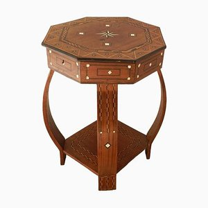 Moroccan Inlaid Side Table for Moorish Games or Sewing, 1920s