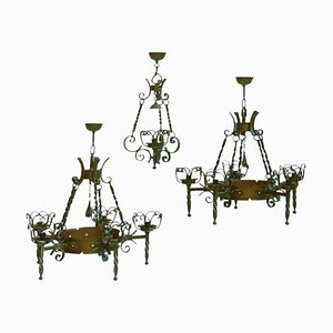 Wrought Iron and Copper Chandeliers, 1900s, Set of 3